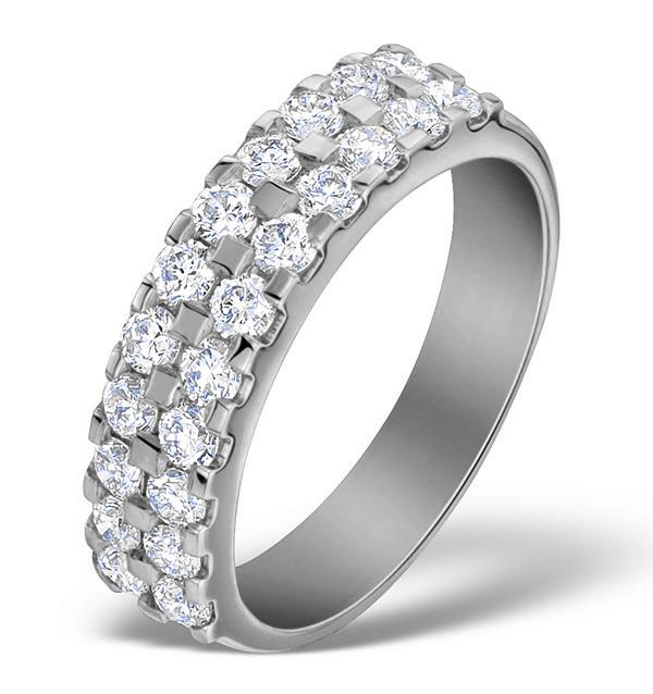 DIAMOND 1.00CT AND PLATINUM HALF ETERNITY RING - S3470