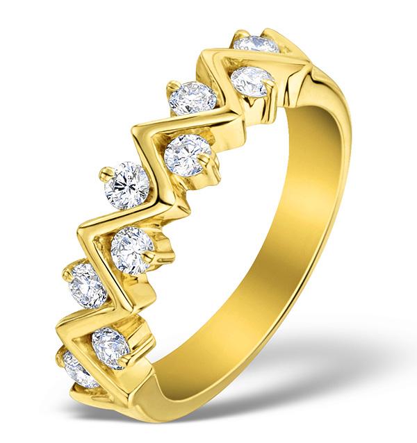 DIAMOND 0.50CT AND 18K GOLD HALF ETERNITY RING - N4498