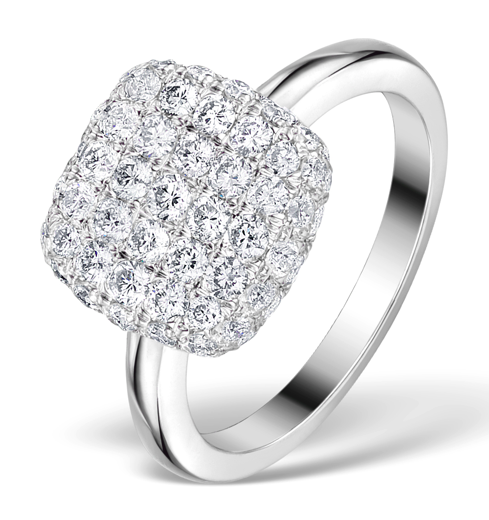 DIAMOND PAVE CUSHION RING 1.25CT H/SI IN 18K WHITE GOLD RING - N4537Y