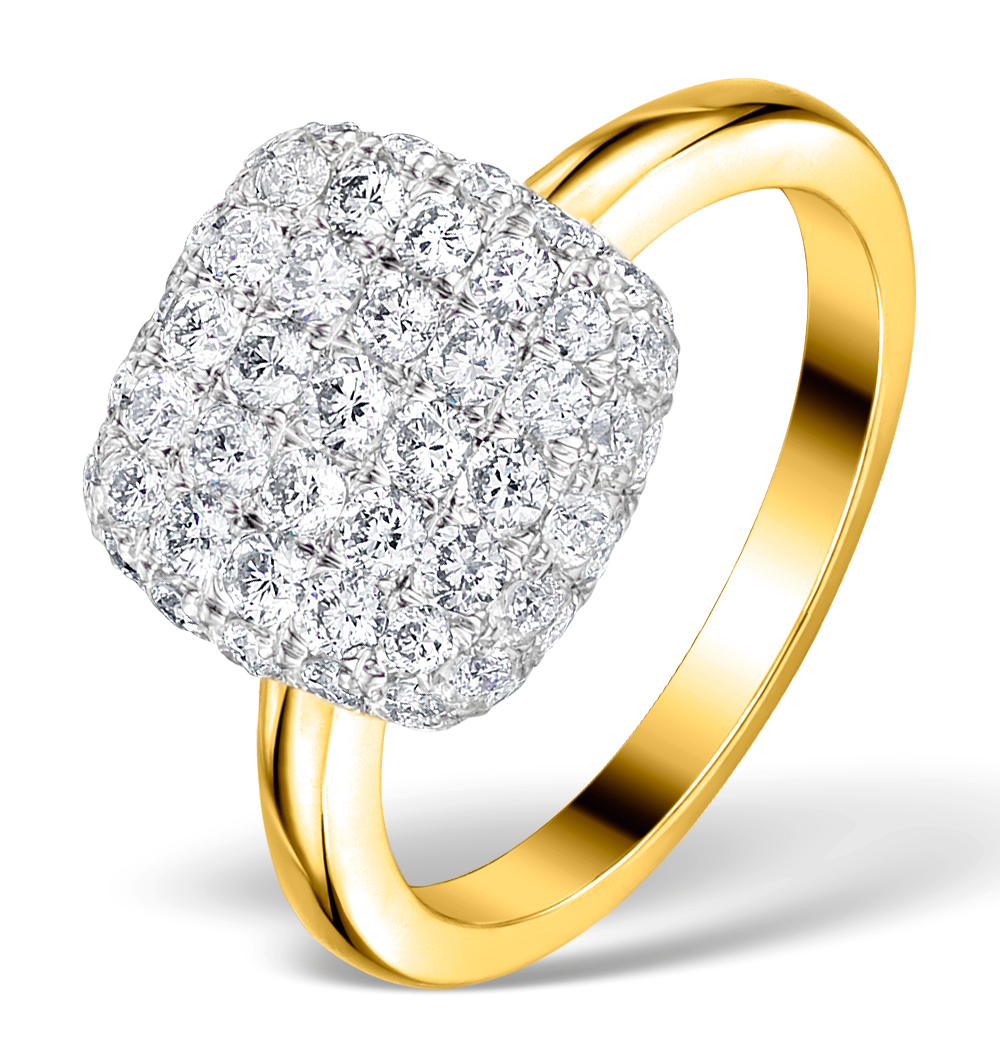 DIAMOND PAVE CUSHION RING 1.25CT H/SI IN 18K GOLD RING - N4537