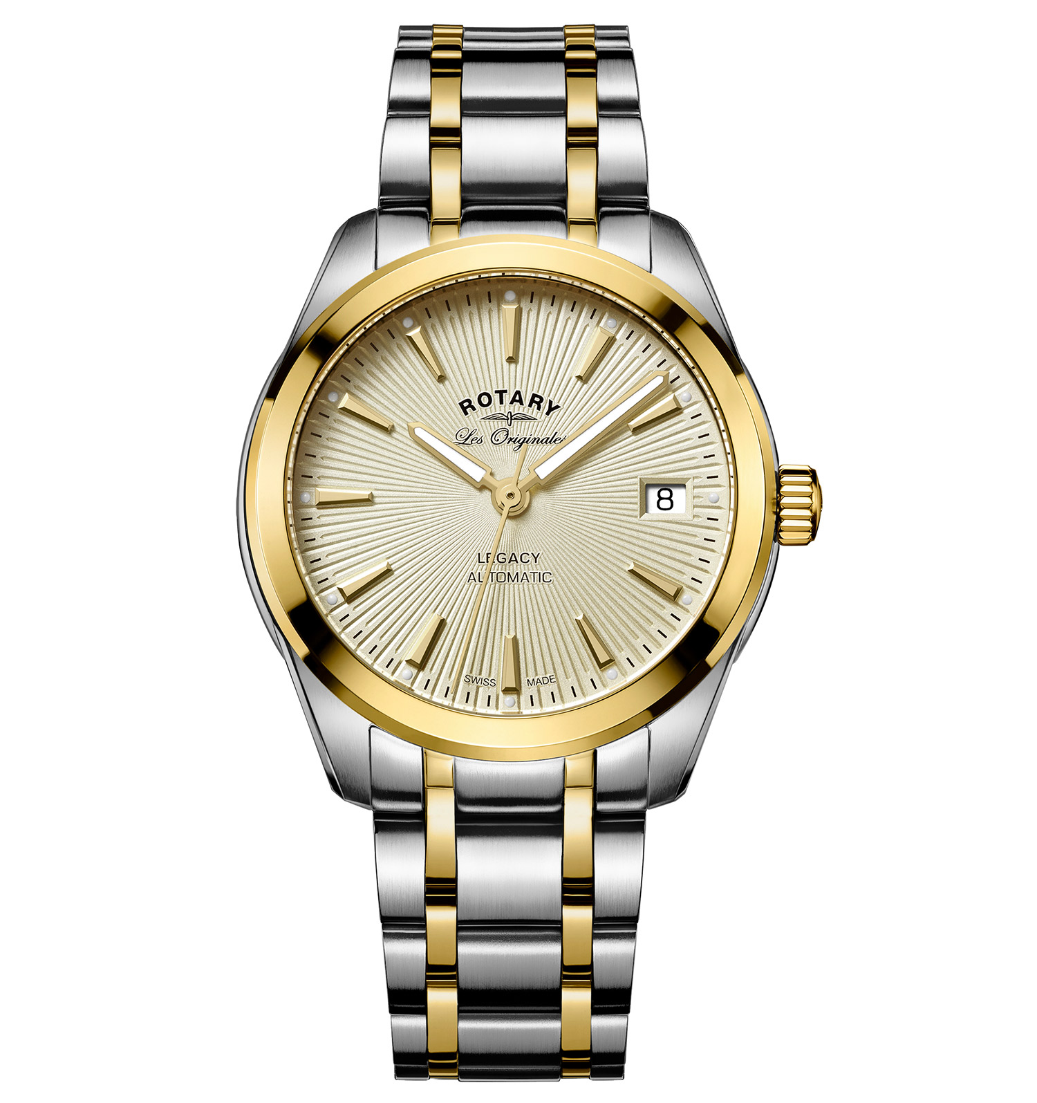 ROTARY LES ORIGINALES LEGACY AUTOMATIC SWISS LADIES TWO TONE WATCH