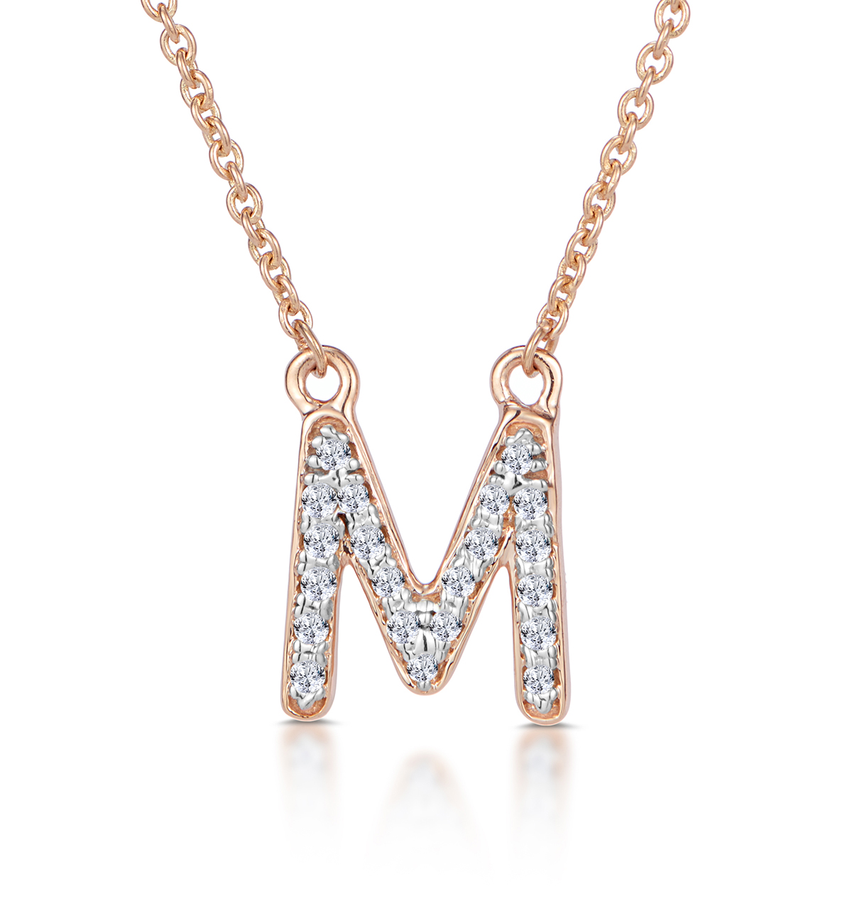 Diamond Encrusted Initial 'M' Necklace Pave Set in 9K Rose Gold