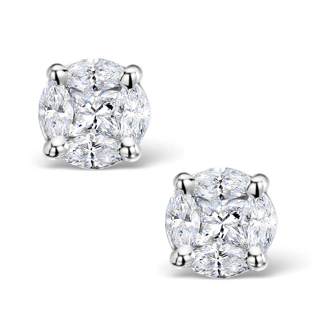 Diamond Earrings 2.00ct Look Galileo Style 0.74ct in 18K White Gold
