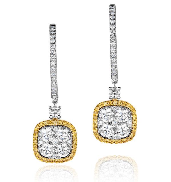 18K WHITE GOLD AN GELINA 3CT DIAMOND AND YELLOW DIAMOND HALO EARRINGS