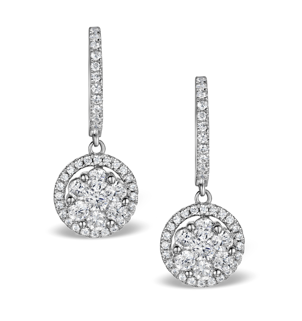HALO DIAMOND DROP EARRINGS - FLORENCE - 1.09CT - IN 18K WHITE GOLD