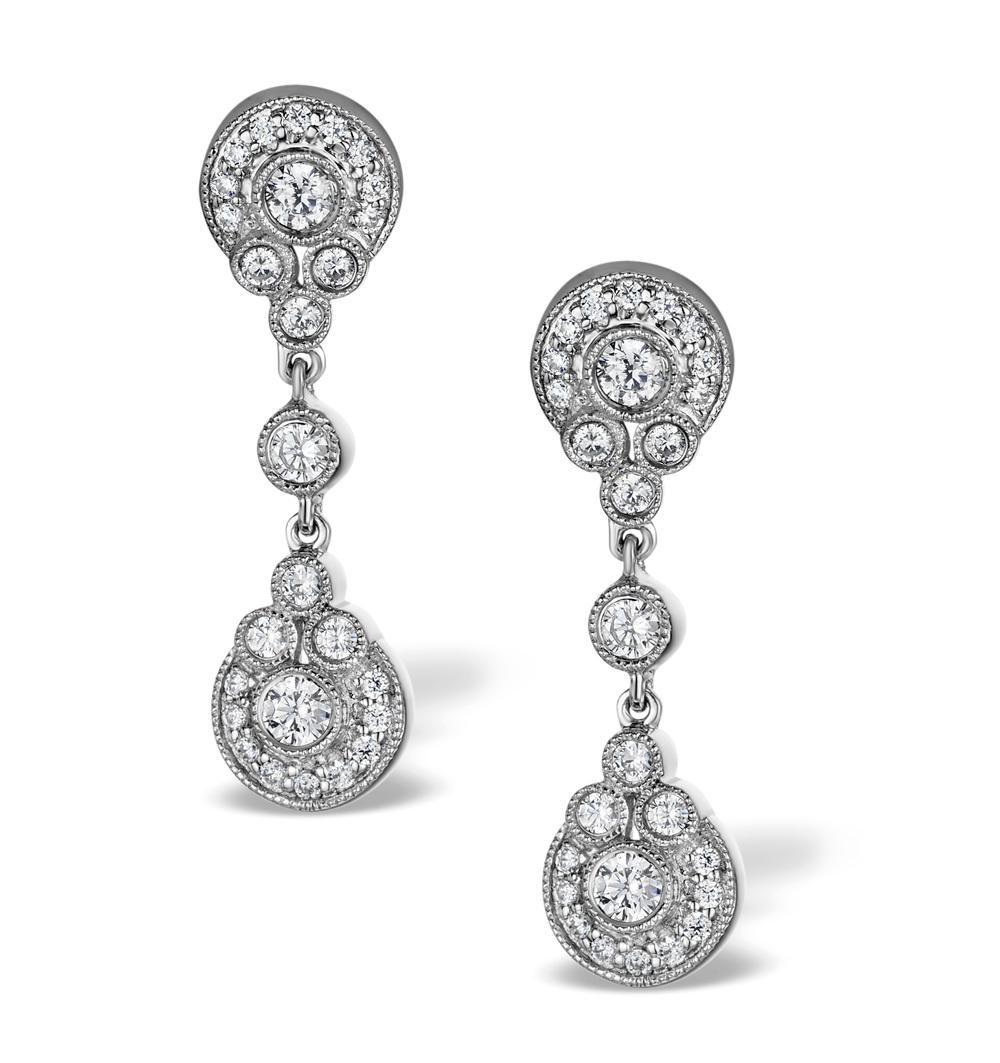 VINTAGE DIAMOND DROP EARRINGS - VITTORIA - 0.80CT - IN 18K WHITE GOLD