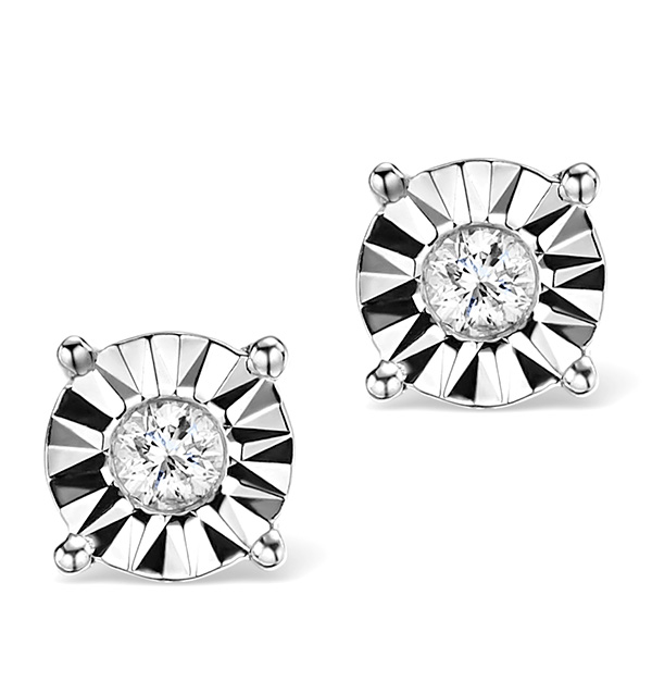DIAMOND STUD EARRINGS 0.10CT H/SI IN 18K WHITE GOLD - P3479