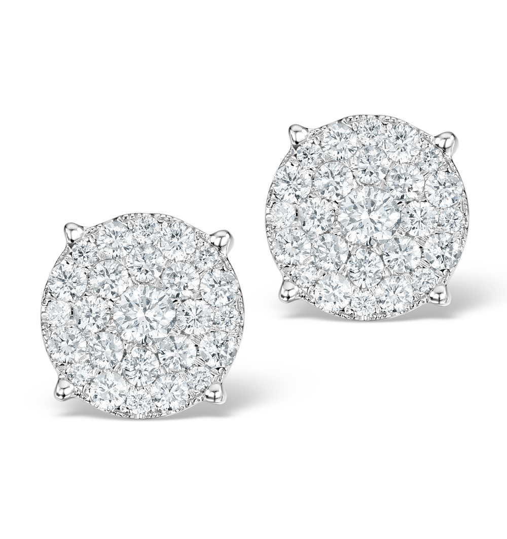GRANDE DIAMOND EARRINGS 1.06CT H/SI IN 18K WHITE GOLD - P3470Y