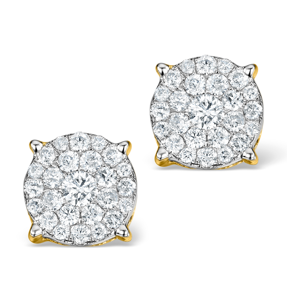 DIAMOND EARRINGS MOYEN 0.85CT H/SI IN 18K GOLD - P3471