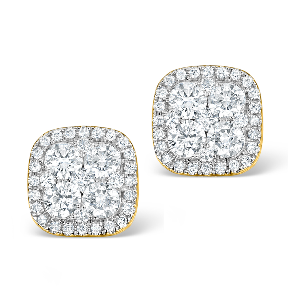 DIAMOND EARRINGS CARRE 1.25CT H/SI IN 18K GOLD - P3482