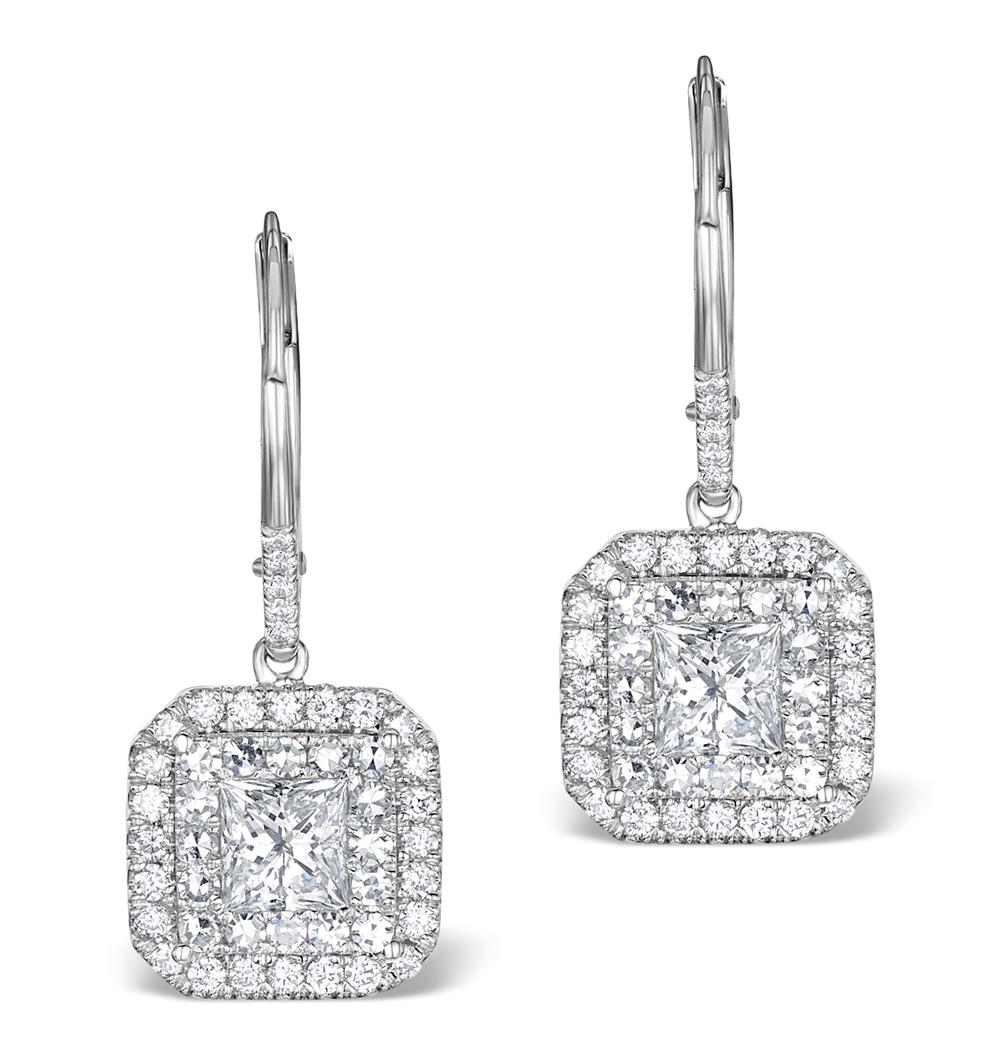 DIAMOND HALO PRINCESS CUT DROP EARRINGS 1.75CT 18K WHITE GOLD - P3483W
