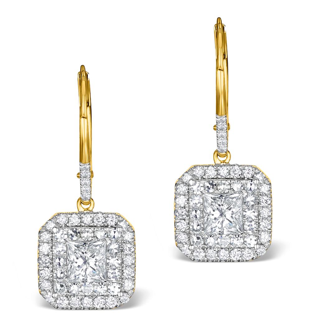 DIAMOND HALO PRINCESS CUT DROP EARRINGS 1.75CT H/SI 18K GOLD - P3483