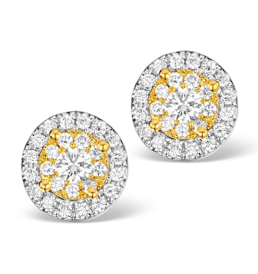 DIAMOND HALO EARRINGS 0.62CT H/SI IN 18K WHITE GOLD - P3485Y