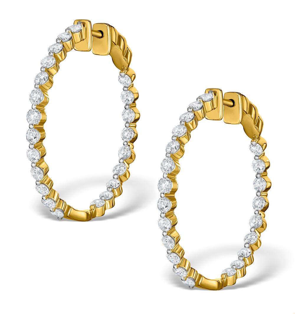 DIAMOND HOOP EMILY EARRINGS 3.06CT H/SI IN 18K GOLD - P3489