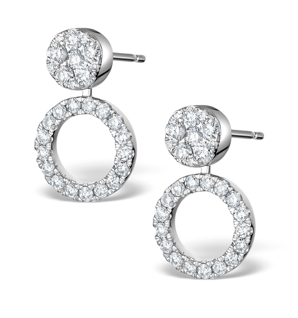 ATHENA DIAMOND DROP EARRINGS MULTI WEAR 1CT IN 18K WHITE GOLD - P3492