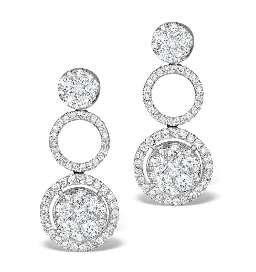 ATHENA DIAMOND DROP EARRINGS MULTI WEAR 1.24CT 18K WHITE GOLD - P3494