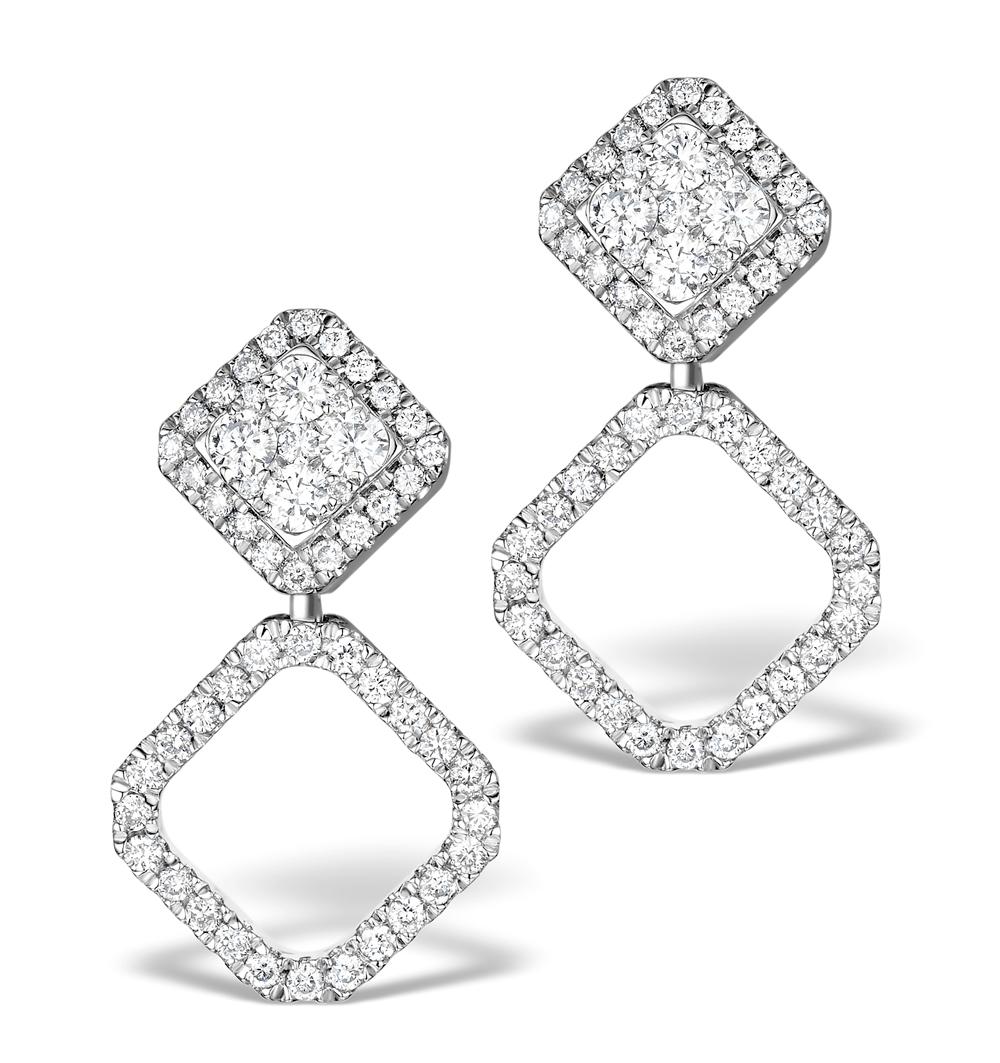 ATHENA DIAMOND DROP EARRINGS MULTI WEAR 1CT IN 18K WHITE GOLD - P3496