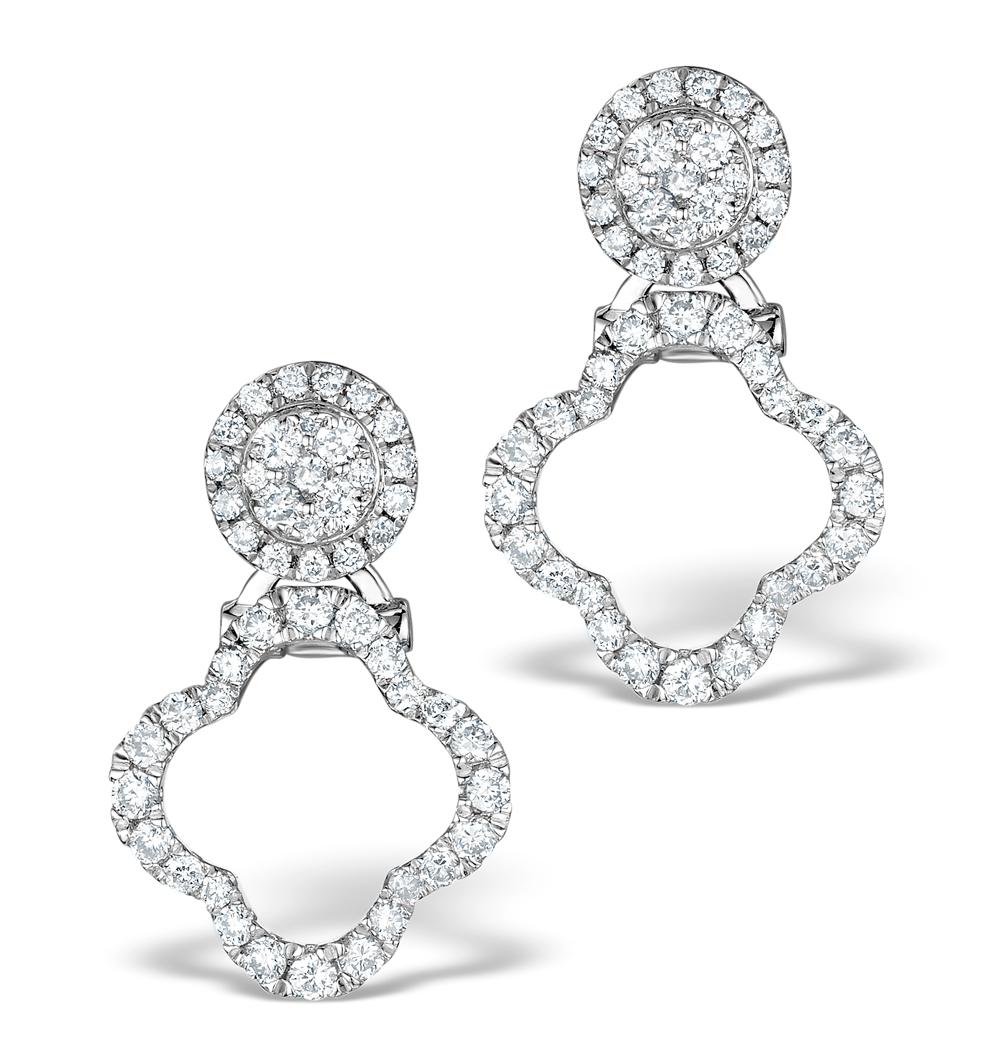 ATHENA DIAMOND DROP EARRINGS MULTI WEAR 0.71CT 18K WHITE GOLD - P3497