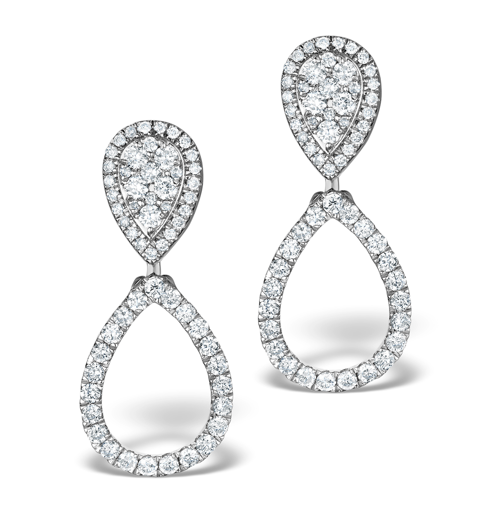 Athena Diamond Drop Earrings Multi Wear 0.90ct 18K White Gold - P3498