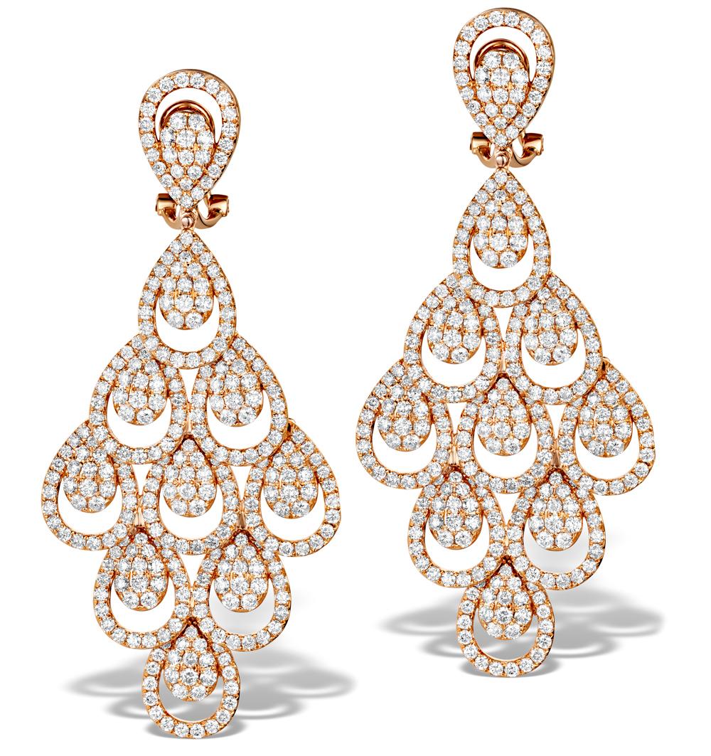 DIAMOND HALO PYRUS CHANDELIER EARRINGS 9.40CT IN 18K ROSE GOLD P3490