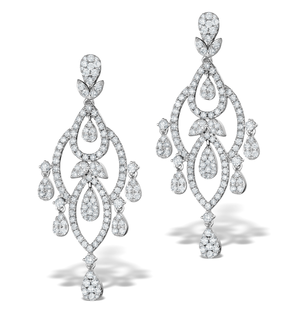 Diamond Pyrus Drop Chandelier Earrings 5ct in 18K White Gold P3402