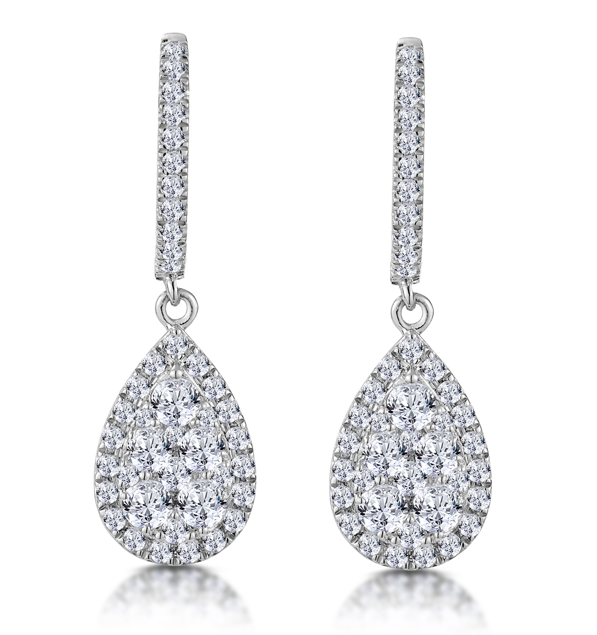 DIAMOND PEAR CLUSTER EARRINGS PAVE 1.5CT SET IN 18K WHITE GOLD