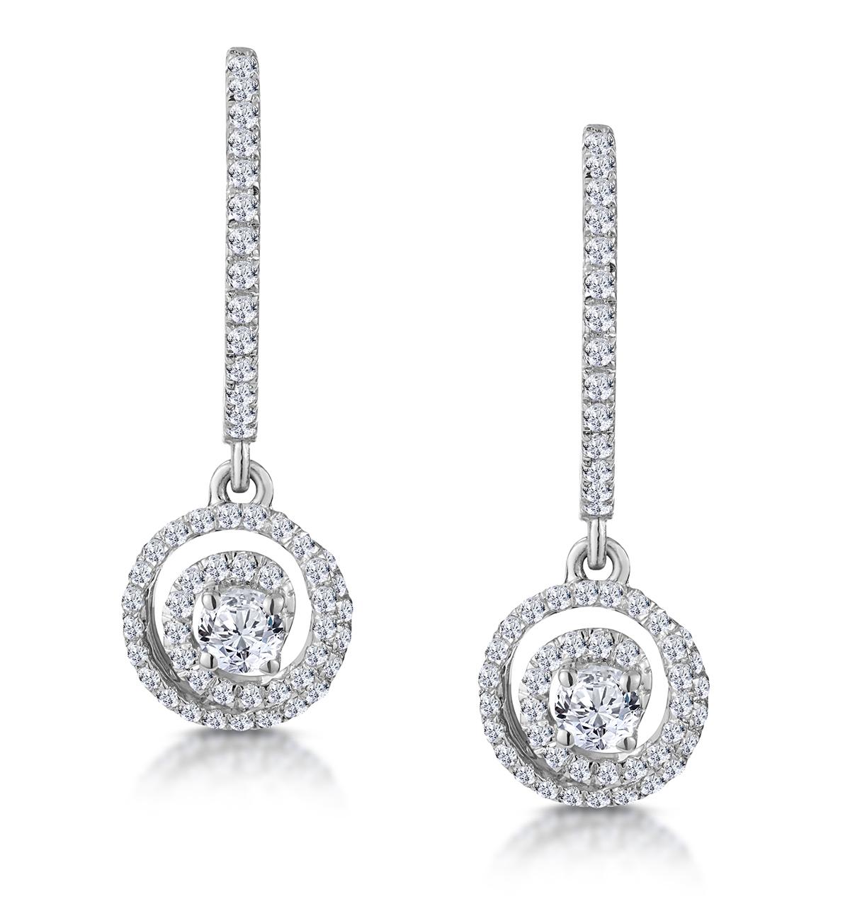 DIAMOND SWIRL DROP EARRINGS 1.15CT SET IN 18K WHITE GOLD