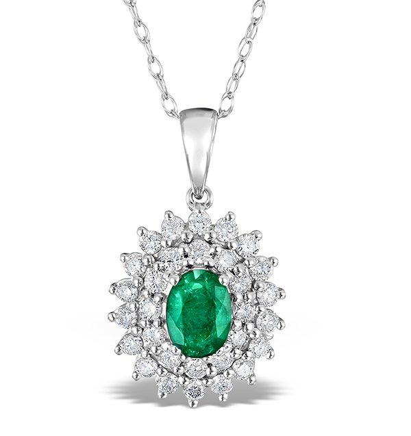 Emerald 0.75CT And Diamond 9K White Gold Pendant