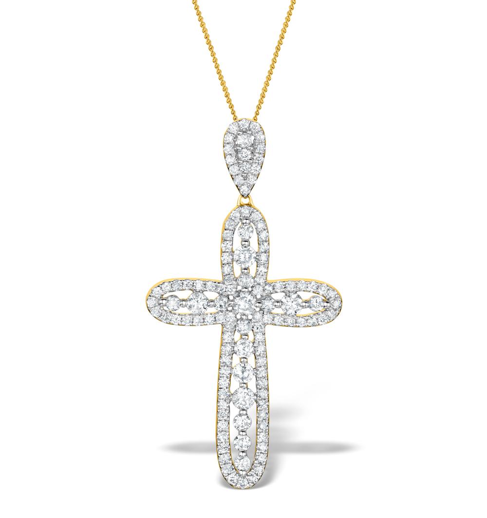 DIAMOND PYRUS CROSS 1.40CT PENDANT IN 18K GOLD - R4654