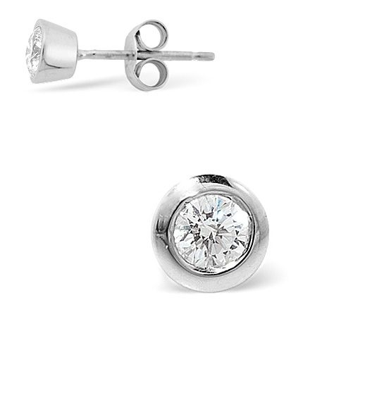 SINGLE STUD DIAMOND EARRING 0.25CT H/SI QUALITY 18K WHITE GOLD - 5.8MM