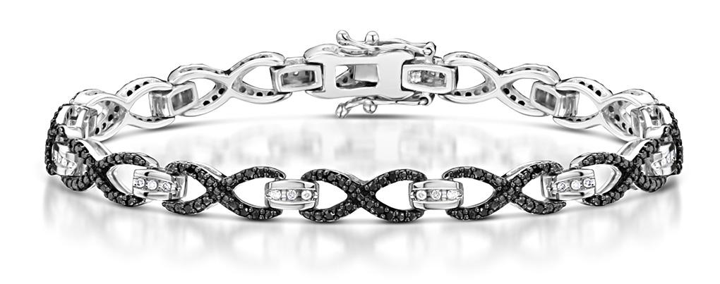 0.40CT BLACK DIAMOND AND DIAMOND SILVER INFINITY BRACELET
