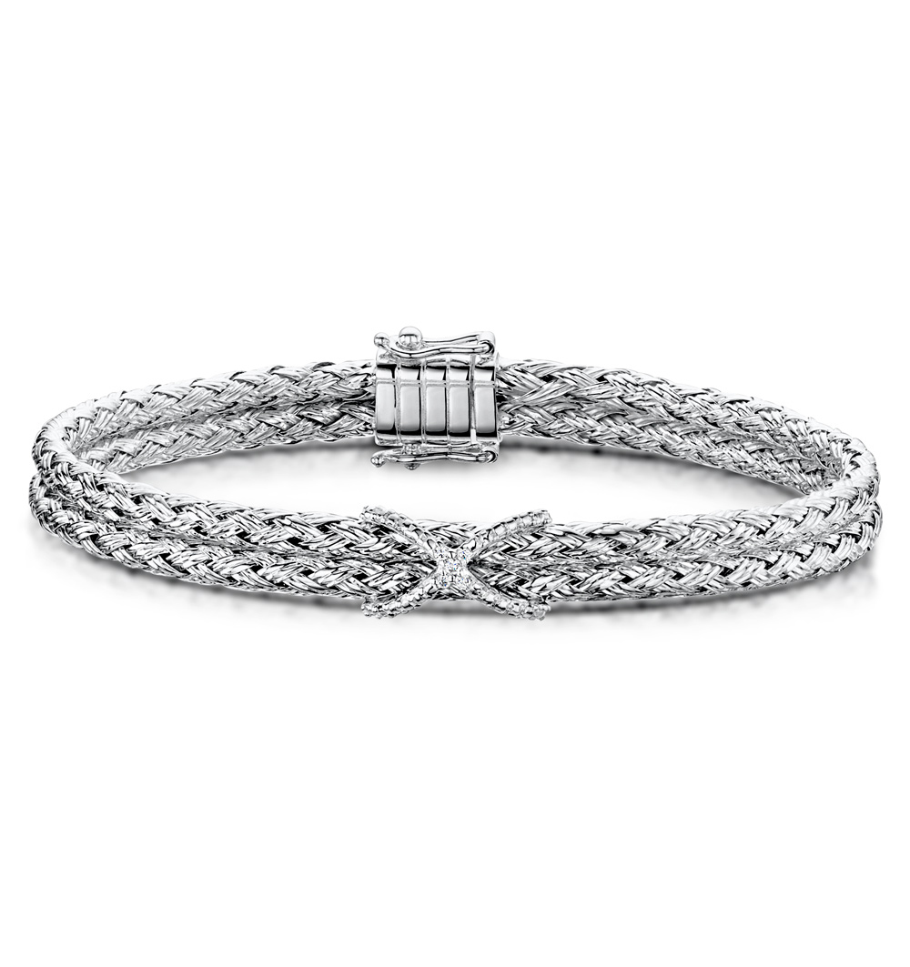 ALLURA COLLECTION TWISTED DIAMOND BANGLE 0.02CT IN 925 SILVER
