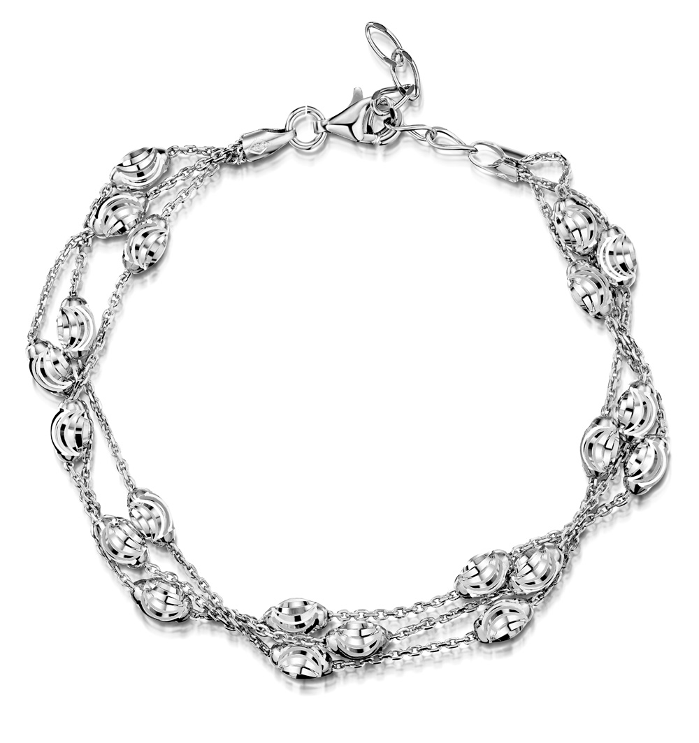 TESORO COLLECTION TRIPLE STRAND BRACELET WITH MOON BEAD IN 925 SILVER