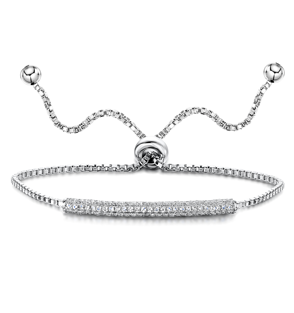 TESORO COLLECTION WHITE TOPAZ PAVE ADJUSTABLE BRACELET IN 925 SILVER