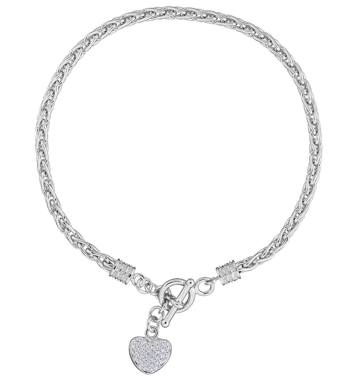 SILVER AND DIAMOND HEART BYZANTINE BRACELET - TESORO COLLECTION