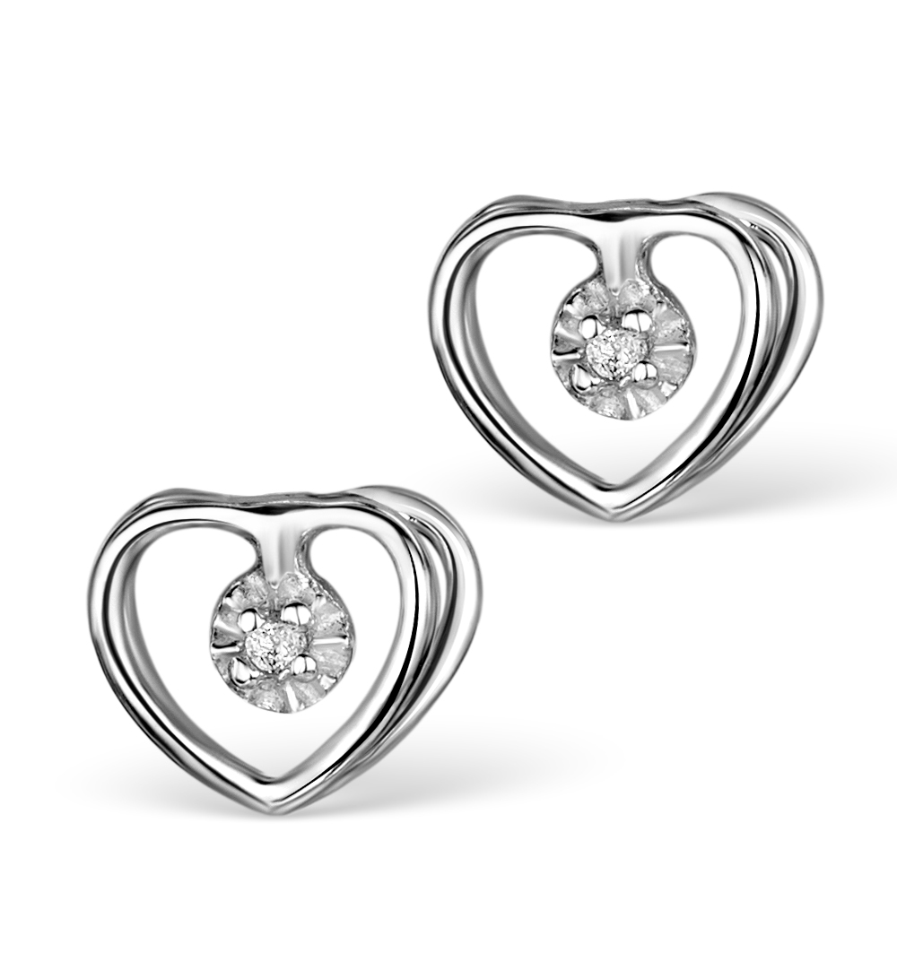 DIAMOND HEART EARRINGS IN STERLING SILVER - UG3231