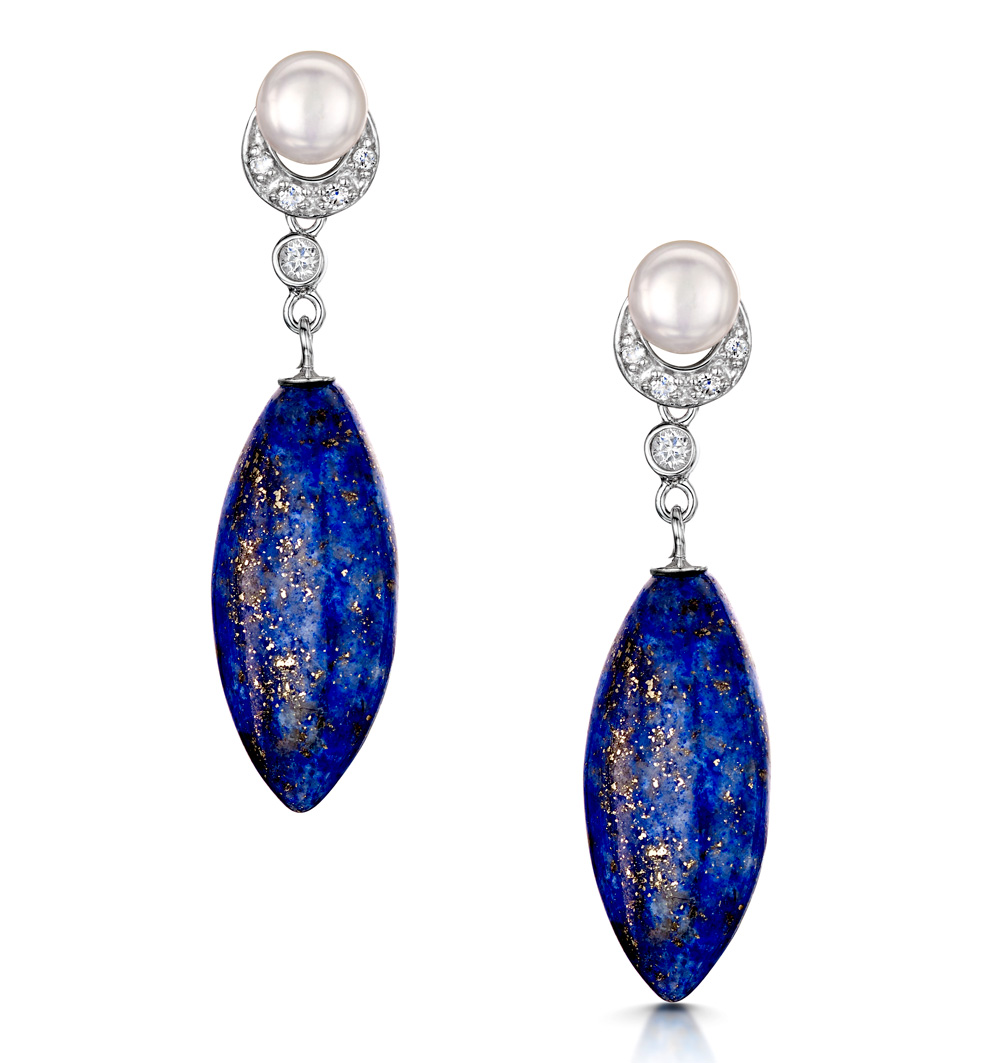 PEARL MARQUISE LAPIS AND WHITE TOPAZ TESORO EARRINGS IN 925 SILVER
