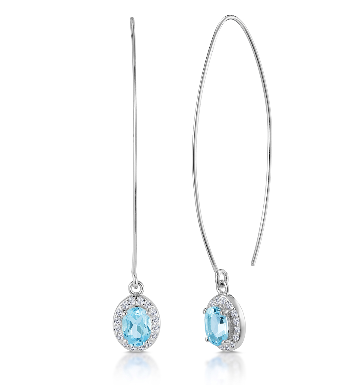 BLUE AND WHITE TOPAZ SILVER THREADER EARRINGS - TESORO COLLECTION