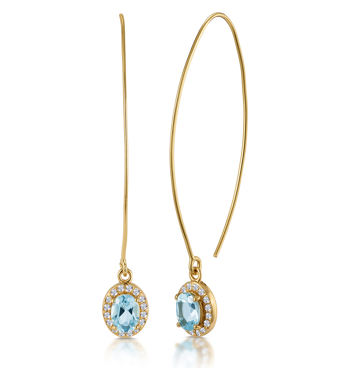 BLUE TOPAZ AND WHITE TOPAZ GOLD VERMEIL EARRINGS - TESORO COLLECTION