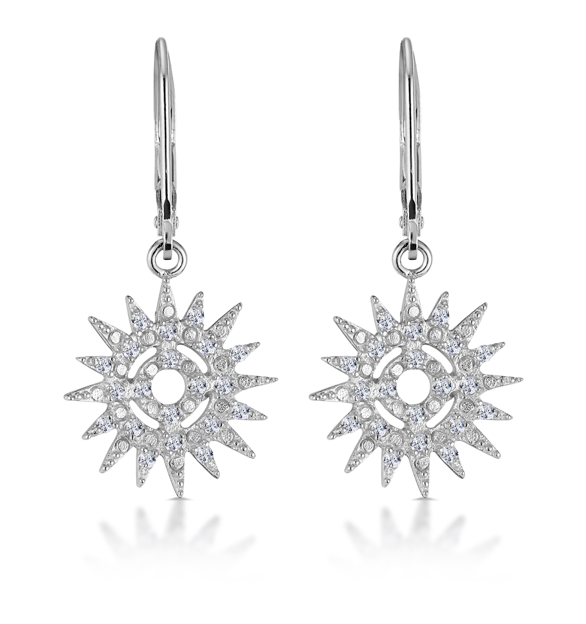 SILVER STARRY SUN DIAL EARRINGS WITH WHITE TOPAZ - TESORO COLLECTION