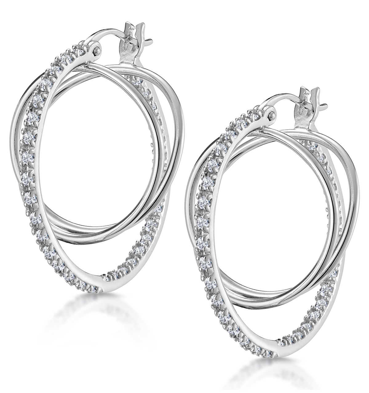 SILVER INSIDE-OUT HOOP EARRINGS WITH WHITE TOPAZ - TESORO COLLECTION