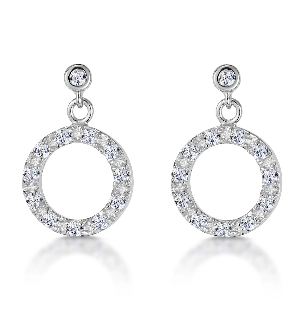 CIRCLE OF LIFE SILVER EARRINGS WITH WHITE TOPAZ - TESORO COLLECTION