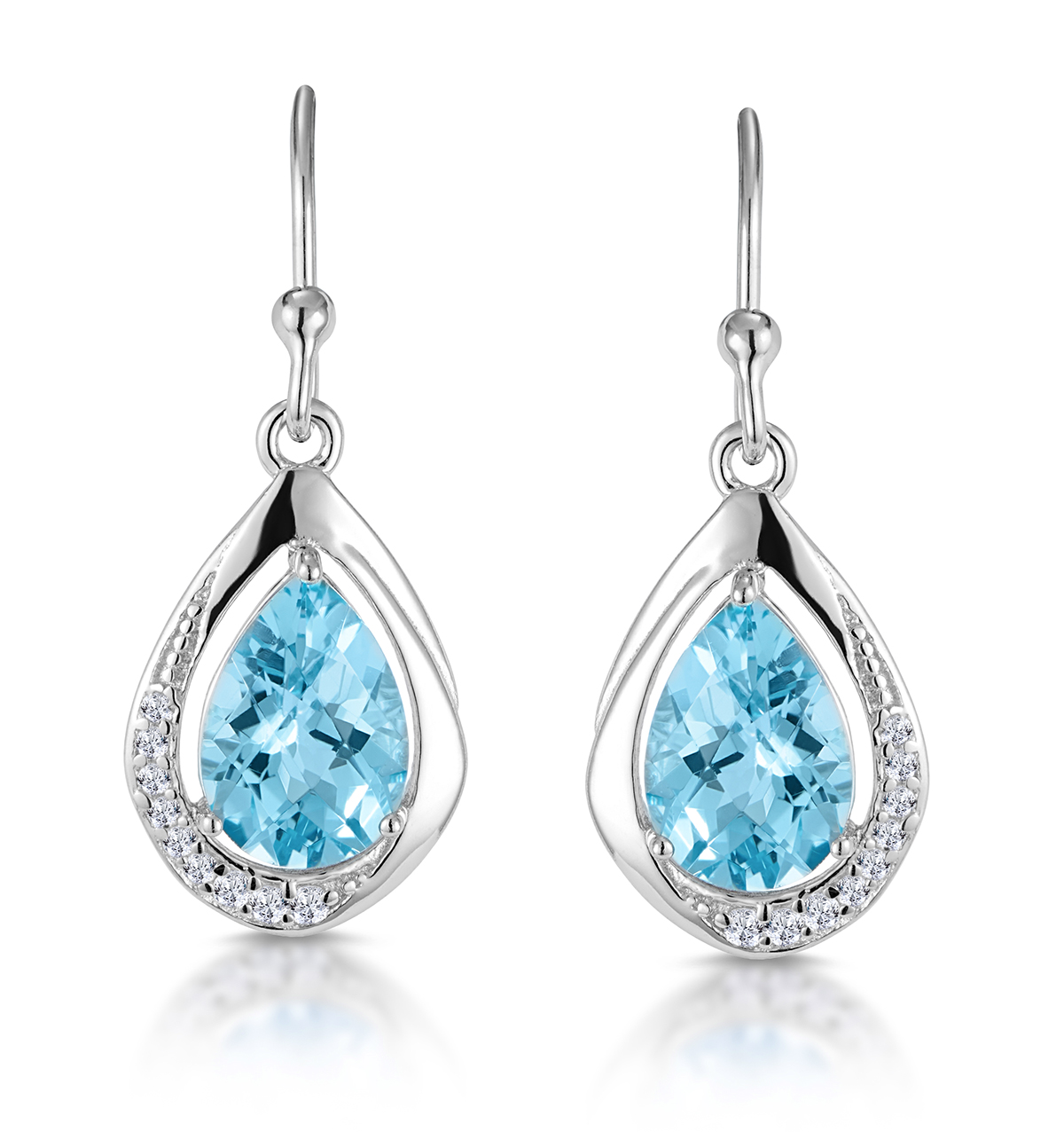 SILVER BLUE TOPAZ AND WHITE TOPAZ TEARDROP EARRINGS -TESORO COLLECTION