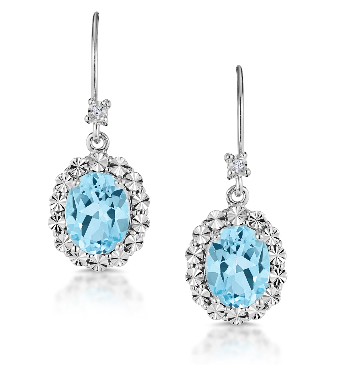 DIAMOND AND SILVER BLUE TOPAZ DANGLE EARRINGS - TESORO COLLECTION