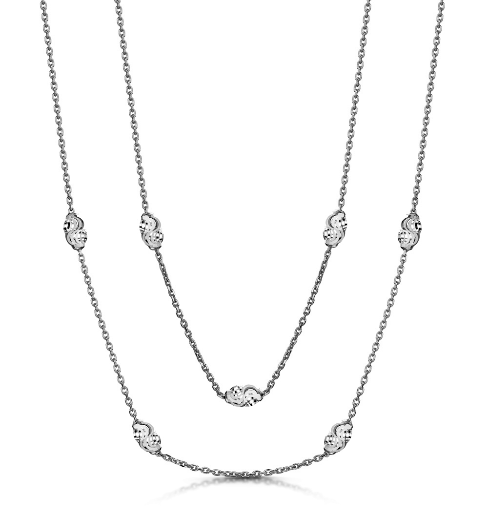 EXTRA LONG MOON CUT TESORO NECKLACE IN 925 SILVER - UP3247