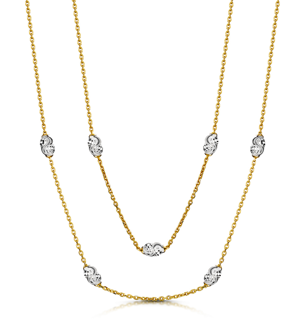 EXTRA LONG TWO TONE MOON CUT TESORO NECKLACE IN 925 SILVER - UP3249