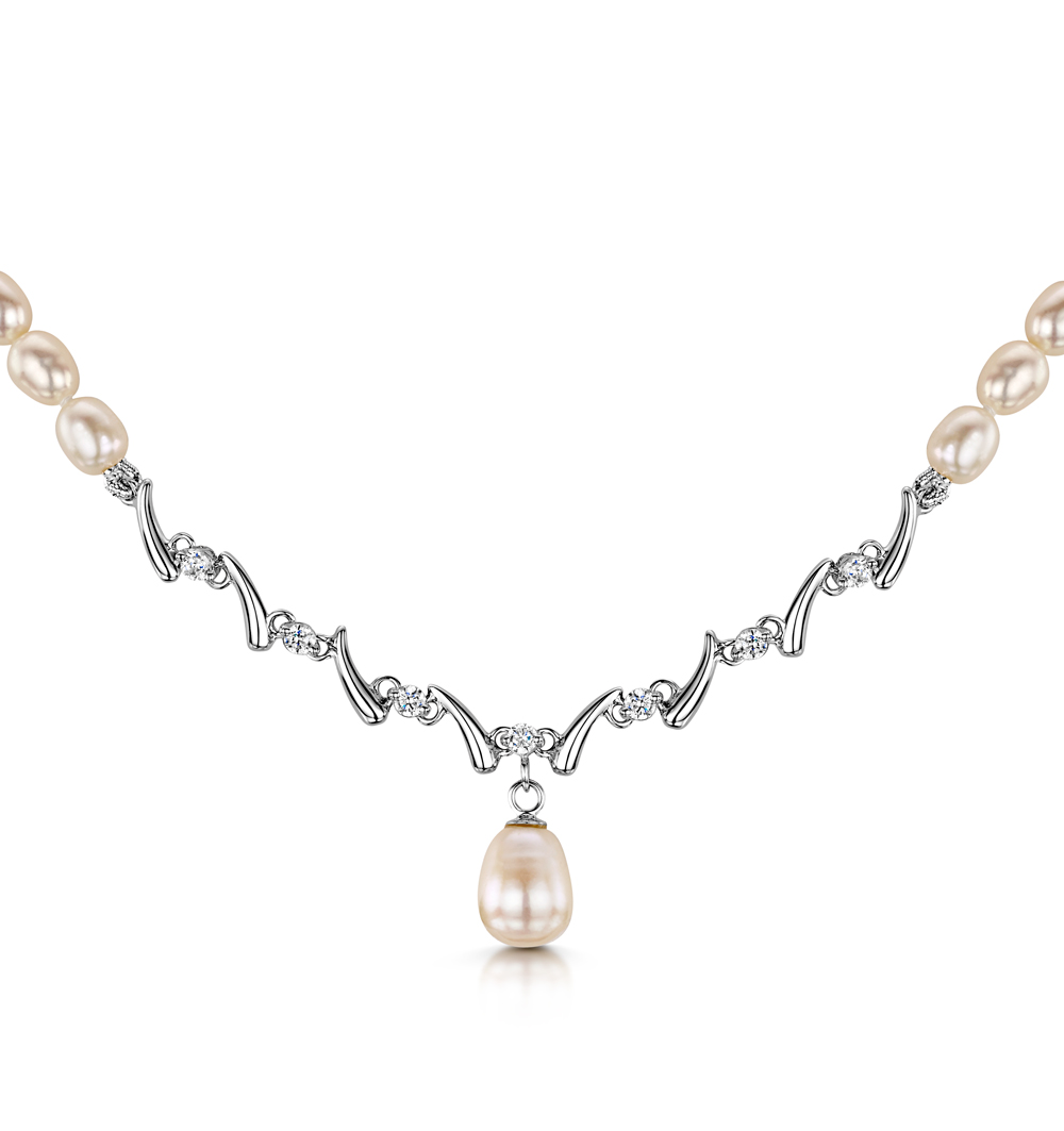 TESORO COLLECTION FRESHWATER PEARL AND CZ DROP NECKLACE IN 925 SILVER