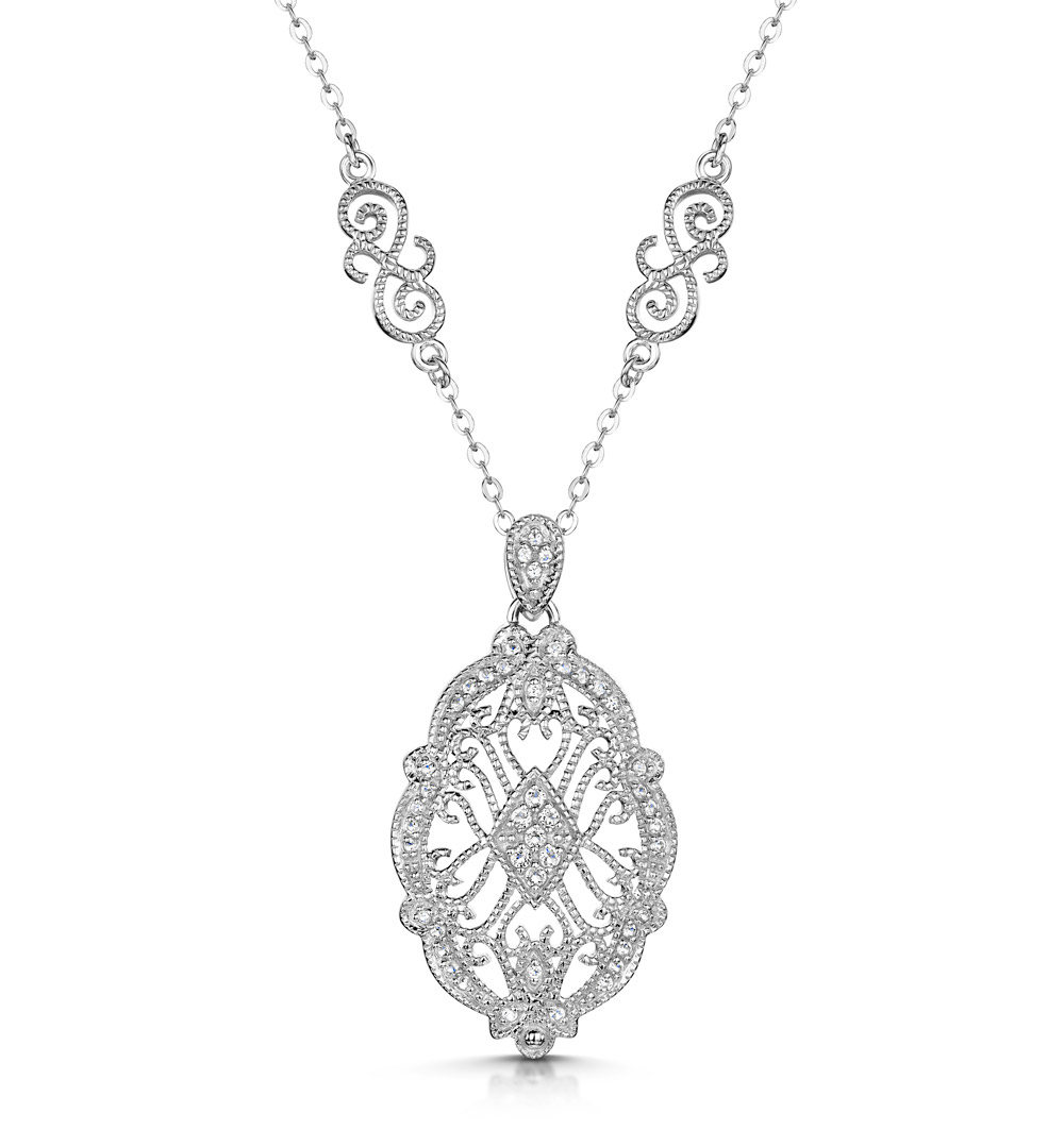 TESORO COLLECTION VINTAGE OVAL WHITE TOPAZ NECKLACE IN 925 SILVER