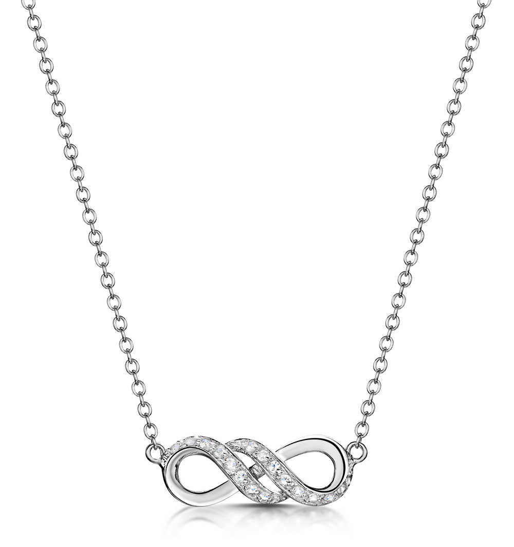 TESORO COLLECTION WHITE TOPAZ INFINITY NECKLACE IN 925 SILVER