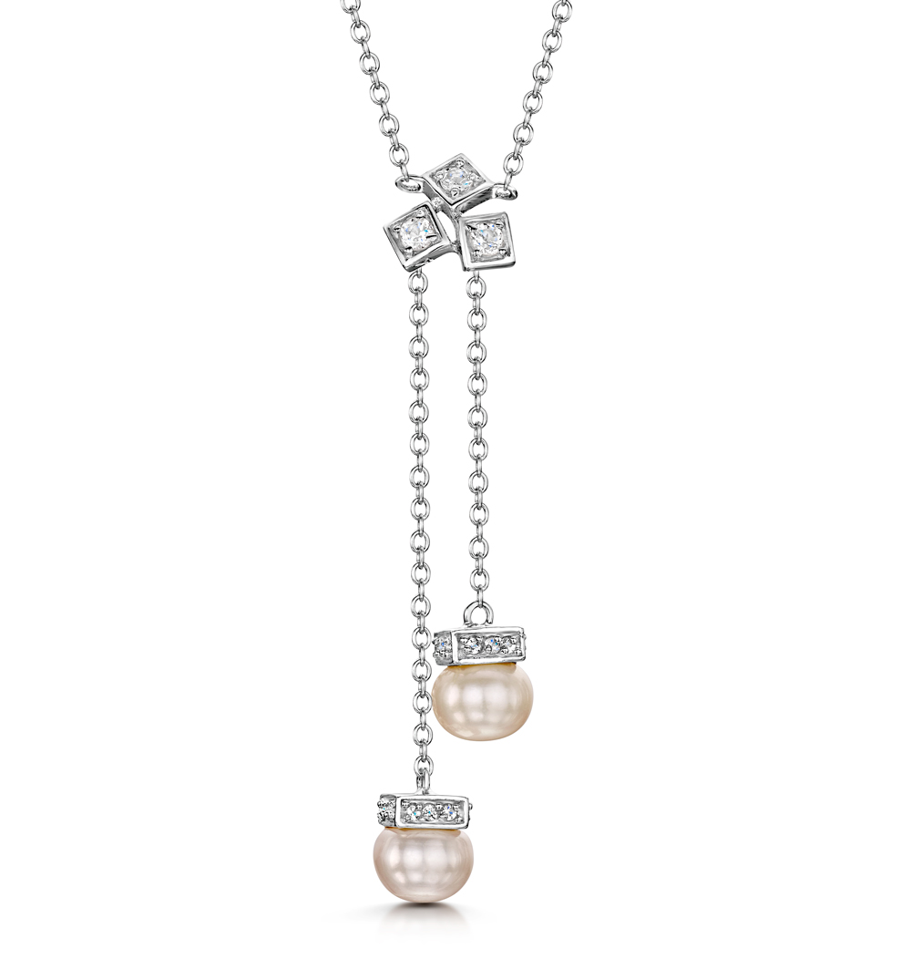 PEARL AND WHITE TOPAZ TRIPLE SQUARE DROP TESORO NECKLACE IN 925 SILVER